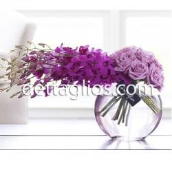 Orquidea y Rosas en Pecera