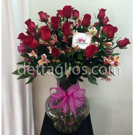 24 Rosas con Alstroemerias