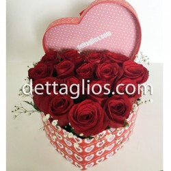 Caja corazon de rosas