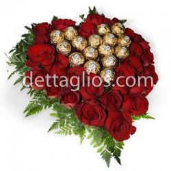 Corazon de rosas y ferrero