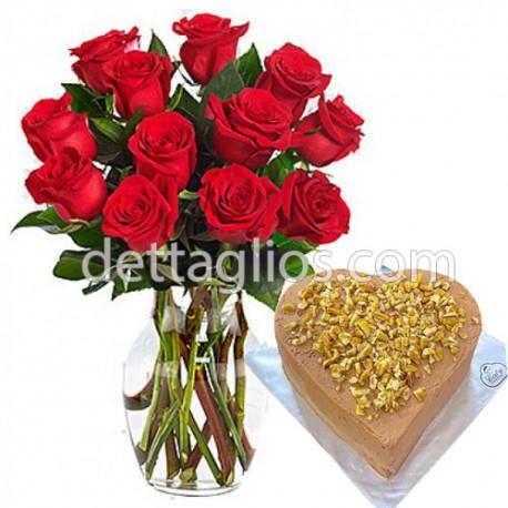Rosas y Pastel corazón