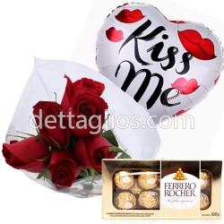 Combo Rosas, Globo y Chocolates